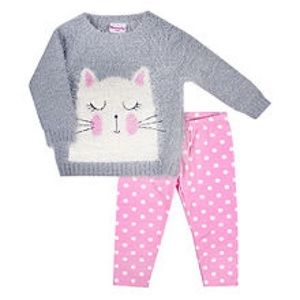 Nannette Kitty Cat Sweater & Polka Dot Leggings